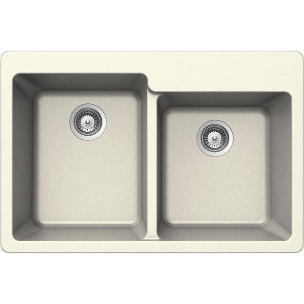 Wessan Double 1-3/4 Drop-In Sink - 22-in x 33-in x 9 1/2-in- Magnolia