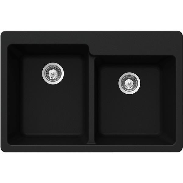 Wessan Granite Double 1-3/4 Drop-In Sink -22-in x 33-in x 9 1/2-in- Black