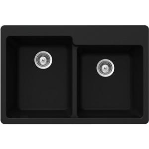 Wessan Granite Double 1-3/4 Drop-In Sink -22-in x 33-in x 9 1/2-in- Black
