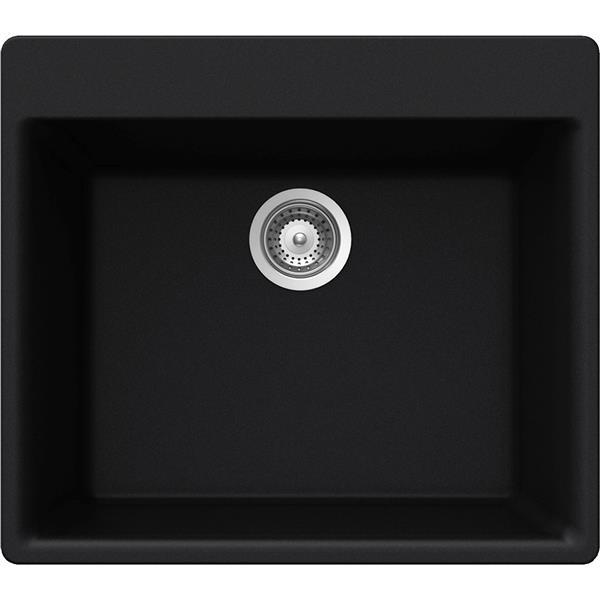 Wessan Granite Drop-In Sink - 21-in x 23 5/8-in x 8 5/8-in - Black