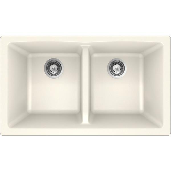 """Granite Double Undermount Sink -17 1/4"""" X 31"""" X 9""""- Magnolia"""