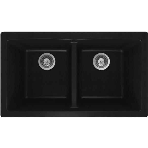 "Granite Double Undermount Sink - 17 1/4"" X 31"" X 9"" - Black"