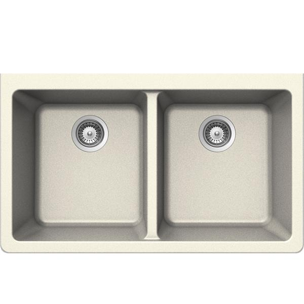 Wessan Double Undermount Sink - 18 1/2-in x 33-in x 9 1/2-in - Magnolia