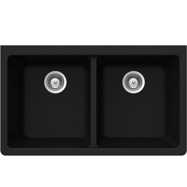 Wessan Granite Double Undermount Sink -18 1/2-in x 33-in x 9 1/2-in-Black