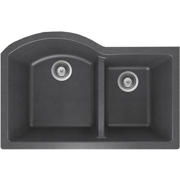 Wessan Granite Double 1-3/4 Undermount Sink - 20-in x 31-in x 9-in- Steel