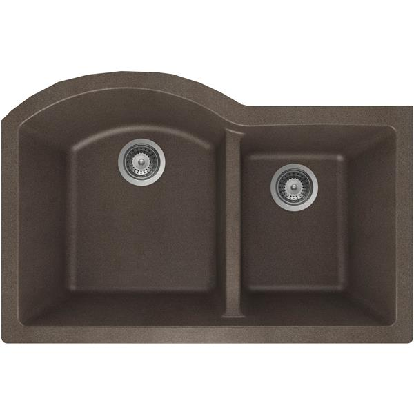 Wessan Granite Double 1-3/4 Undermount Sink -20-in x 31-in x 9-in- Bronze