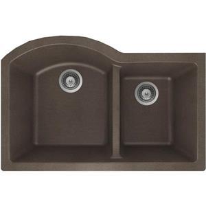 "Évier double 1-3/4, granite, sous plan,20"" x 31"" x 9"",bronze"