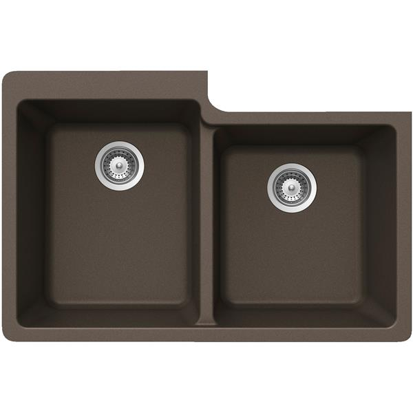 Wessan Double 1-3/4 Undermount Sink - 22-in x 33-in x 9 1/2-in - Bronze