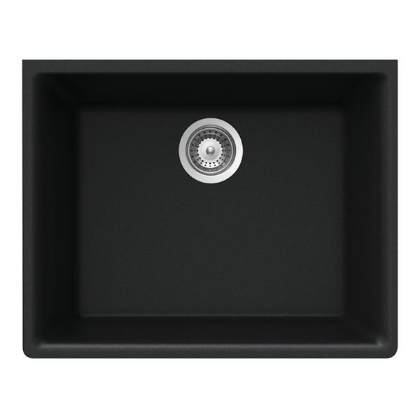 """Évier en granite, sous plan,18 1/4"""" X 23 5/8"""" X 8 5/8"""", noir"""