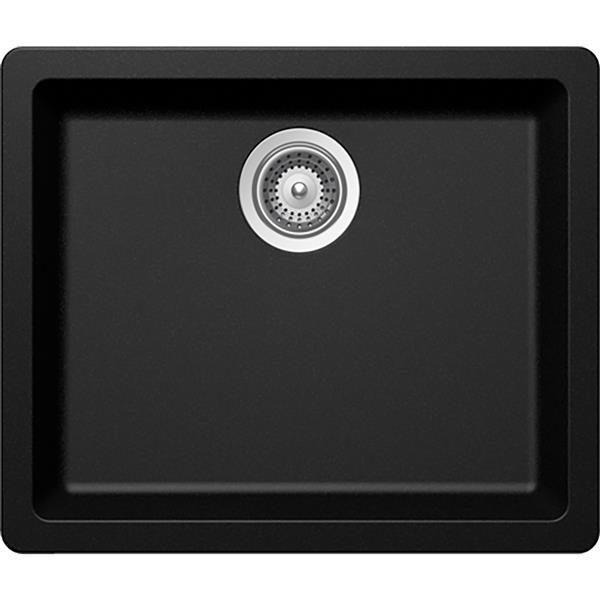 Wessan Universal Granite Sink -16 15/16-in x 17 3/4-in x 7 7/8-in - Black