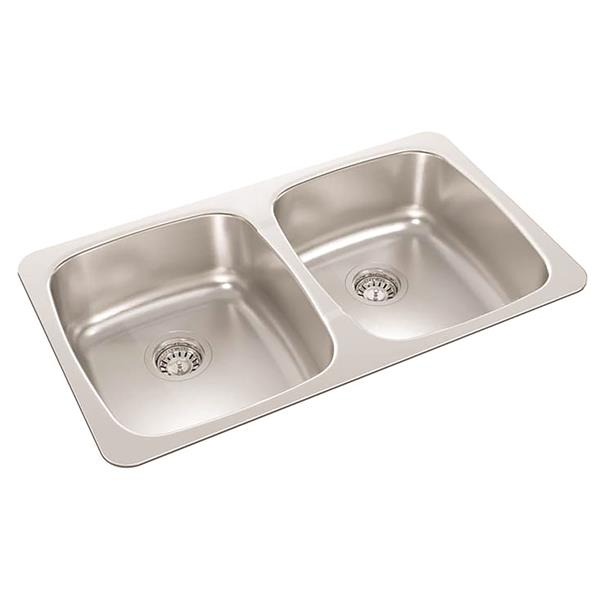 Wessan Stainless Steel Double Drop-In Kitchen Sink - 18-in x 31-in x 7-in