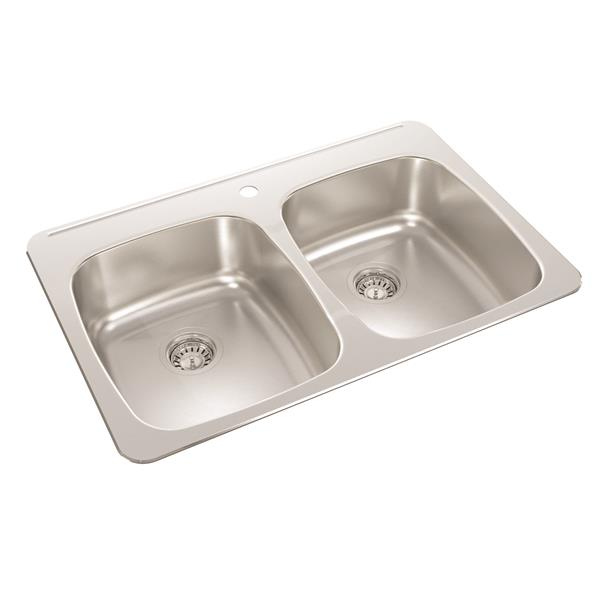 Wessan Double Drop-In Kitchen Sink - 20 1/2-in x 31-in x 8-in - Stainless