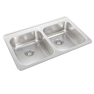 Wessan Stainless Steel Double Drop-In Kitchen Sink - 21-in x 32-in x 7-in