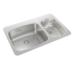 Wessan Double 1-1/2 Drop-In Kitchen Sink - 20 1/2-in x 31-in x 8-in & 7-in