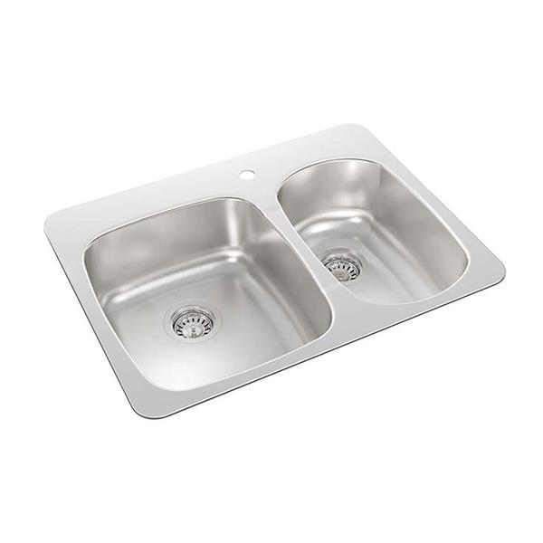 "Double 1-1/2 Drop-In Kitchen Sink - 20 1/2"" X 27 1/4"" X 7"""