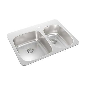 Wessan Double 1-1/2 Drop-In Kitchen Sink - 20 1/2-in x 27 1/4-in x 7-in