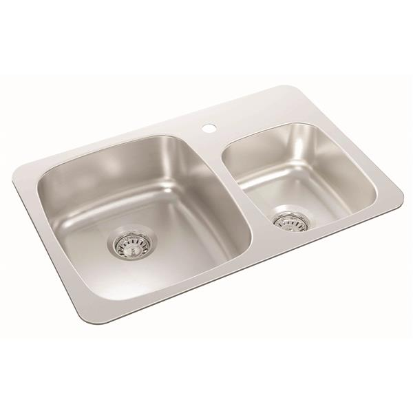 Wessan Double 1-1/2 Drop-In Kitchen Sink - 18-in x 27 1/4-in x 7-in & 6-in