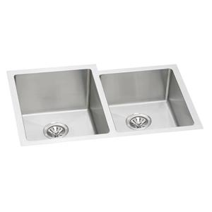 Wessan Double 1-3/4 Undermount Sink - 20-in x 31-in x 9-in - Stainless