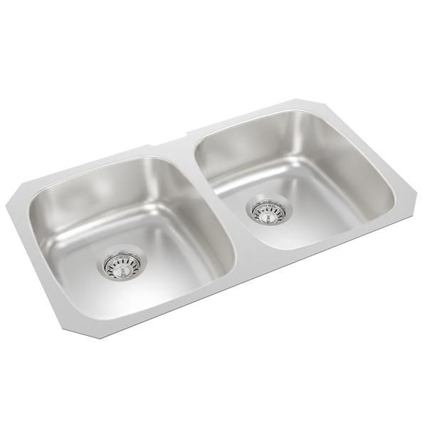 Wessan Stainless Steel Double Undermount Sink - 18-in x 31-in x 8-in
