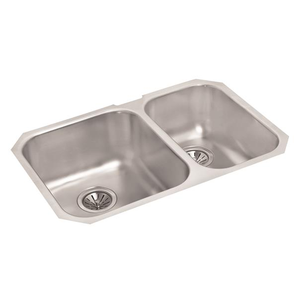 Wessan Double 1-1/2 Undermount Sink - 18-in x 27-in x 8-in - Stainless