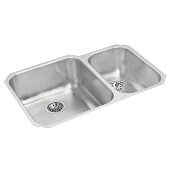 Wessan Stainless Double 1 1/2 Undermount Sink -19 3/4-in x26 7/8-in x  8-in
