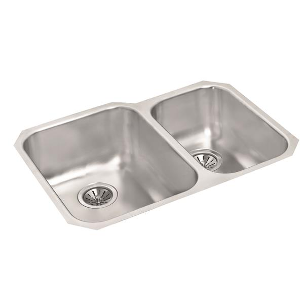 Wessan Stainless Double 1-1/2 Undermount Sink - 20-in x 29-in x 8-in & 7-in