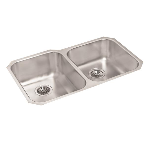 Wessan Stainless Double 1-1/2 Undermount Sink - 20-in x 31-in x 8-in & 7-in