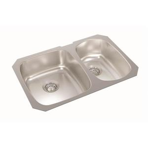 Wessan Stainless Double 1-1/2 Undermount Sink - 18-in x 27-in x 7-in