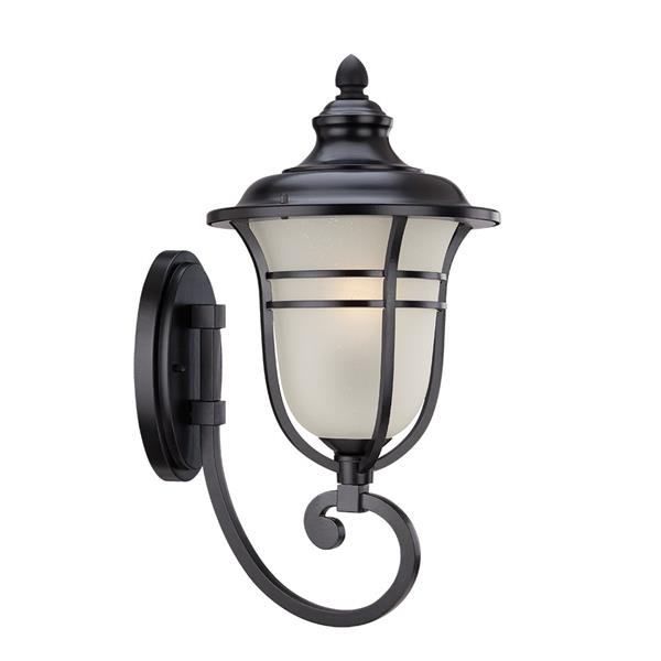 Acclaim Lighting Montclair 21.25-In x 11.00-In  Frosted Manufacturer Color/Finish Matte Black Wall Mounted Lantern