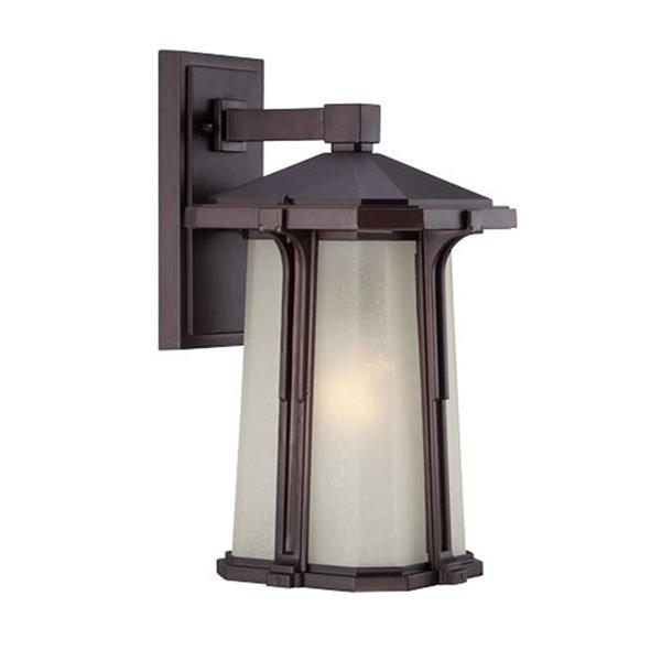 Acclaim Lighting Illuma 14-in Matte Bronze Frosted Glass Outdoor Wall Lantern