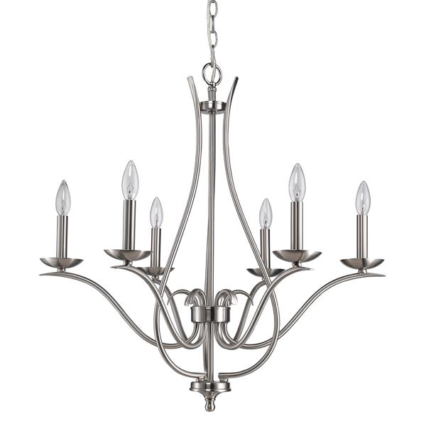 Acclaim Lighting Genevieve 28-in Nickel 6-Light Chandelier