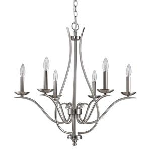 Genevieve 28-in Nickel 6-Light Chandelier