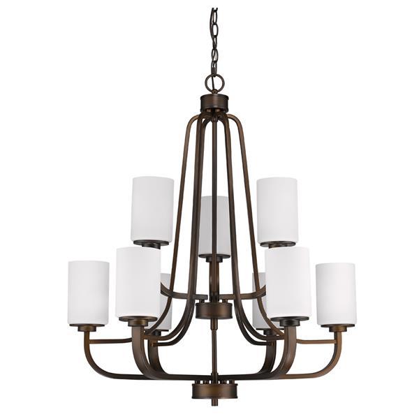 """Lustre Addison, 9 lumières, 32,5"""", bronze"""