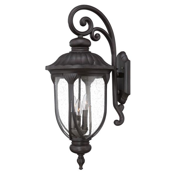 Acclaim Lighting Laurens 27.5-in Matte Black Clear Glass Downward Mount 3-Light Outdoor Wall Lantern