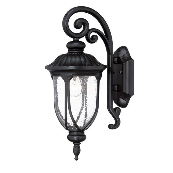 Acclaim Lighting Laurens 16.5-in Matte Black Clear Glass Downward Mount Outdoor Wall Lantern