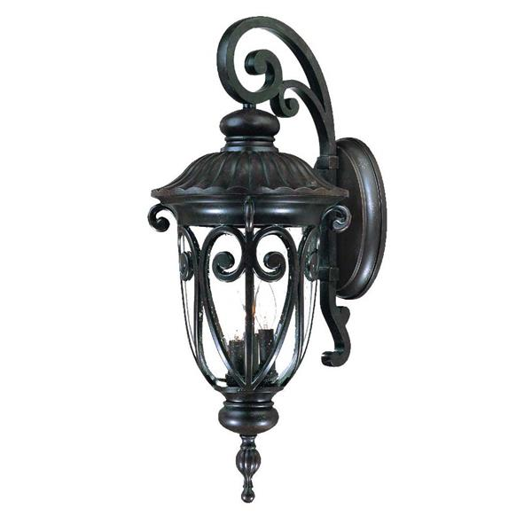 Acclaim Lighting Naples 27.5-in Marbleized Mahogany Aluminum 3-Light Outdoor Wall Lantern