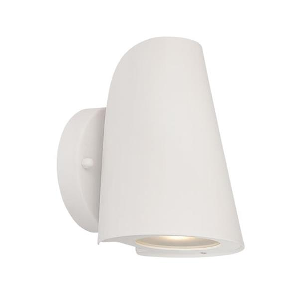 Acclaim Lighting 7-in Matte White Clear Glass Tapered Cylinder LED Outdoor Wall Sconce