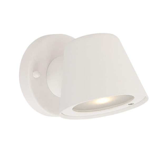 Acclaim Lighting 4.5-in Matte White Clear Glass Tapered Cylinder LED Outdoor Wall Sconce