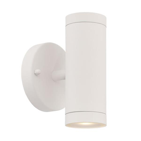 Acclaim Lighting 6.5-in Matte White Clear Glass Cylinder 2-Light LED Outdoor Wall Sconce