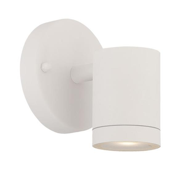 Acclaim Lighting 5.12-in Matte White Clear Glass Cylinder LED Outdoor Wall Sconce