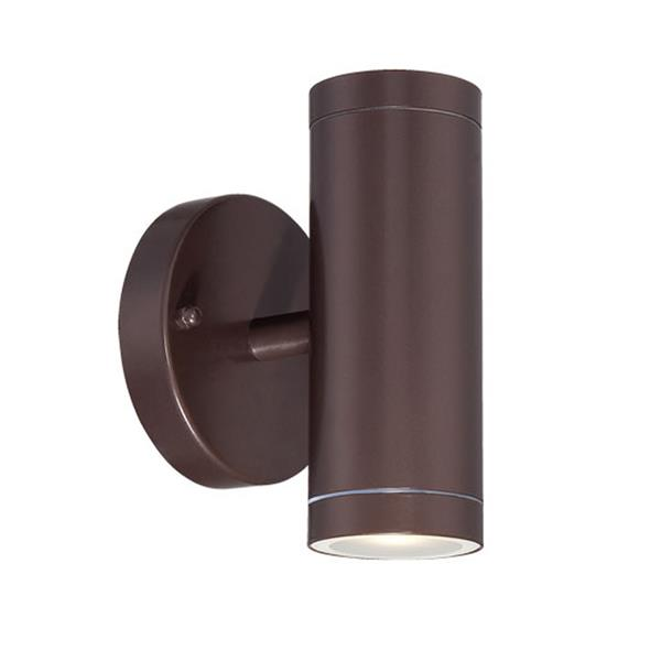 Acclaim Lighting 6.5-in Architectural Bronze Clear Glass Cylinder 2-Light LED Outdoor Wall Sconce