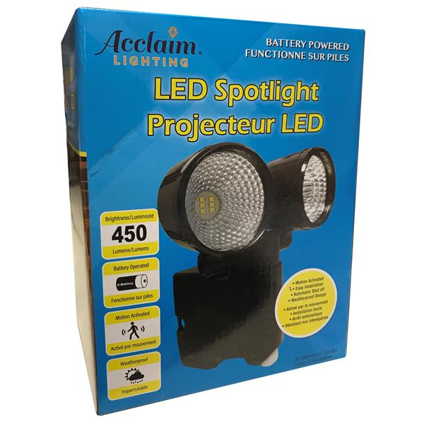 Acclaim Lighting LED Dual Head Battery Operated flood light w/Motion Sensor