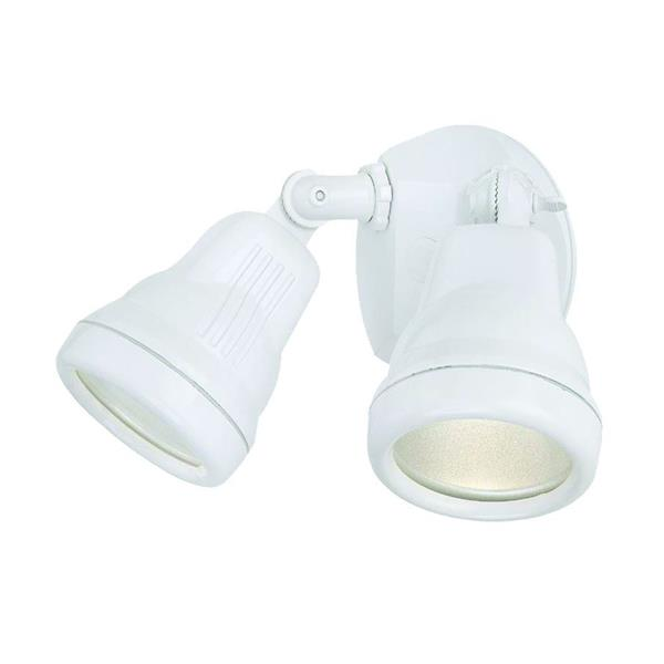 Acclaim Lighting Cast Aluminum Adjustable 6-In x 10-In 2-Lights Gloss White Floodlight