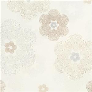 Papier peint à motif médaillon florale