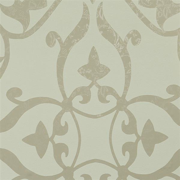 Walls Republic White Metallic Floral Damask Non-Woven Unpasted Wallpaper