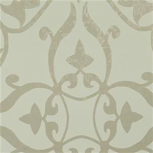 Walls Republic White Metallic Floral Damask Non-Woven Unpasted Wallpaper