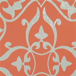 Papier peint à motif damassé florale métallique
