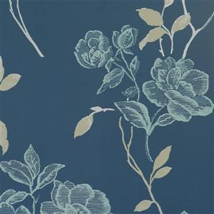 Wall Republic Vintage Floral 57 sq ft Cerulean/Blue Unpasted Wallpaper