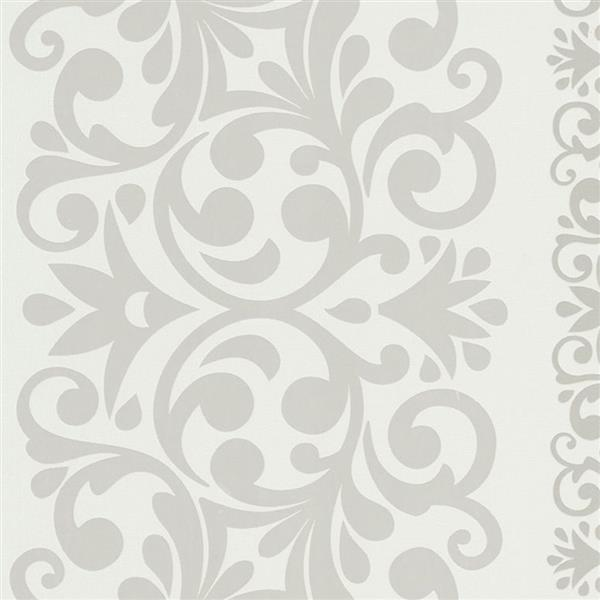 Walls Republic White And Silver Damask Non-Woven Paste The Wall Traditional Metallic Damask Wallpaper