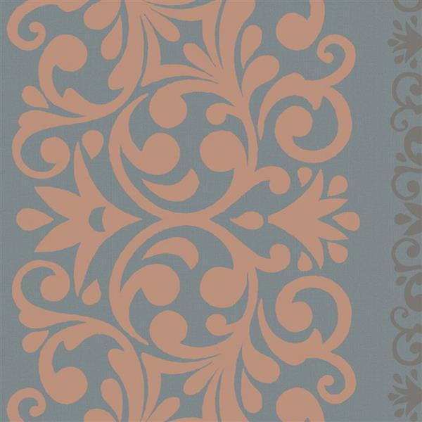 Walls Republic Blue And Orange Damask Non-Woven Paste The Wall Traditional Metallic Damask Wallpaper